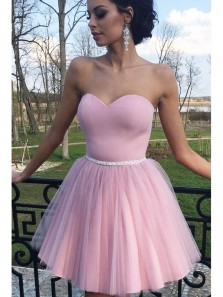 Simple Cute Sweetheart Pink Tulle Puffy Skirt Homecoming Dress Courtwarming Dress Under 100
