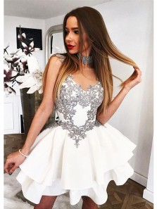 Cute A Line Sweetheart Silver Applique White Short Homecoming Dress