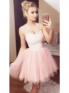 Simple Cute Strap Puffy Skirt Pink Tulle Elastic Satin Short Homecoming Dress ,Courtwarming Dresses