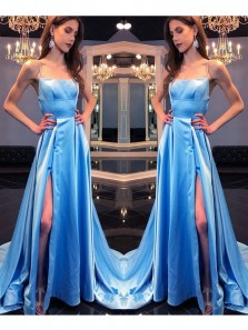 Long Prom Dress,Women Party Gowns,Blue Formal Gowns,Straps Prom Dresses,Split Prom Dress