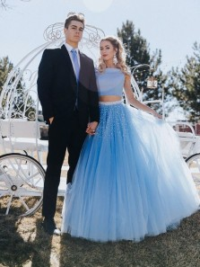 101ba968c104 Cute A Line Off Shoulder Two Piece Blue Tulle Prom Dress with Beading ...
