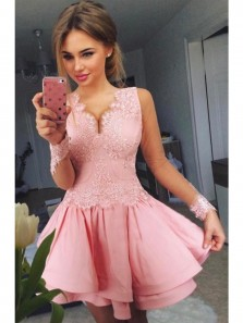Cute A Line Pink Applique V Neck Mini Homecoming Dress, Pretty Party Dress,