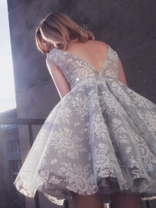 Charming V Neck Gray and White Lace organza Puffy Skirt Homecoming Dress ,Sweet 16 Homecoming Dress