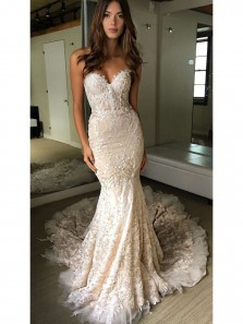 Luxurious Mermaid Sweetheart Backless Ivory Lace Court Train Wedding Dress Custom