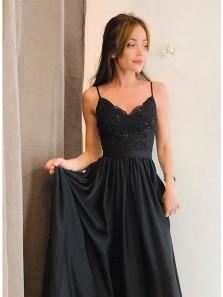 Cute A Line Black V Neck Split Lace Long Prom Dress, Black Evening Dress,Black Dress