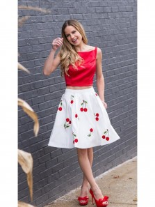 Cute Two Piece Cherry Floral Satin Short Red Homecoming Dress
