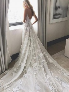 Gorgeous A Line V Neck Open Back Court Train White Lace Wedding Dress, Beach Wedding Dress