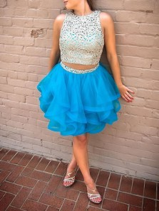 Cute Two Piece Scoop Lace Short Blue Tulle Homecoming Dresses Party Dress