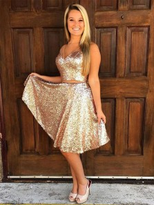 Sparkly Simple V Neck Cheap Two Piece Gold Sequin Open Back Homecoming Dresses Party Dress