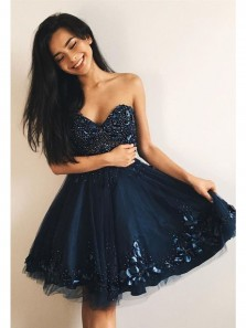 Cute A-Line Sweetheart Navy Blue Tulle Mini Homecoming Dress with Beading Sweet 16 Homecoming Dress