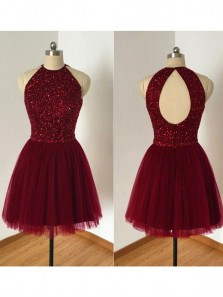 A Line Beaded Bodice Halter Burgundy Tulle Homecoming Dresses,Open Back Short Formal Dresses