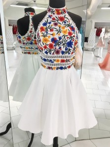 Cute A Line Halter Embroidery Short White Satin Homecoming Dress with Beading