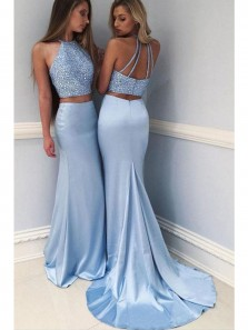 Sexy Halter Open Back Two Piece Blue Mermaid Prom Dresses with Beading