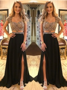 Fashion Elegant Two Piece Black Beading V Neck Cap Sleeve Open Back Prom Dress with Split, Evening Formal Dress