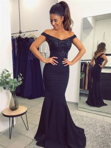 Elegant Long Navy Blue Mermaid Evening Dresses, Lace Off Shoulder Open Back Prom Dress, Popular Bridesmaid Gowns