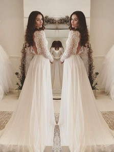 Elegant Scoop Ivory Lace & Chffion Long Prom Dress, Long Sleeves Prom Dress ,Custom Made Evening Dress