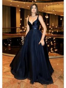 Sexy V Neck Spaghetti Straps Navy Sequins & Satin Long Prom Dress, Formal Evening Dress, Free Custom Made Evening Dress
