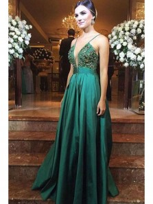 4d44121f688 Sexy Mermaid V Neck Open Back Khaki Elastic Satin Long Prom Dresses ...