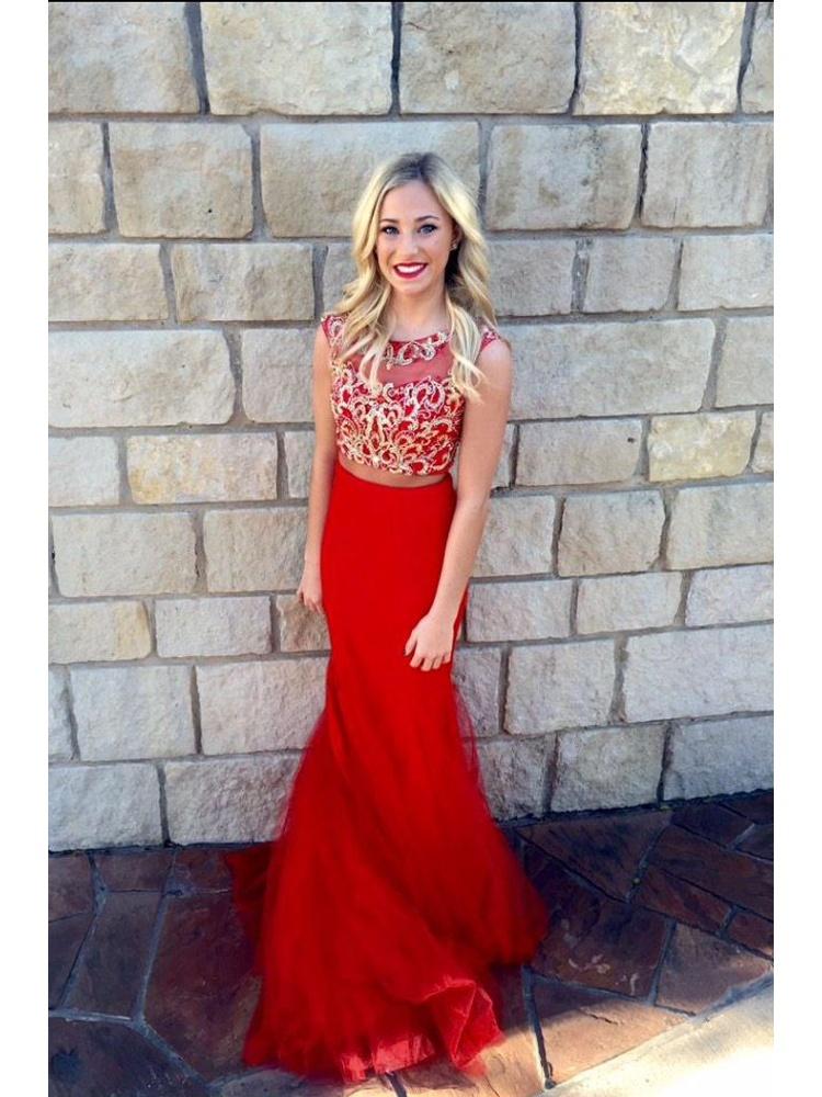 d34e4b2c97a5 Charming Red Mermaid Two Piece Red Lace Prom Dress, Chiffon Long Prom Dress,  Custom Formal Evening Dress