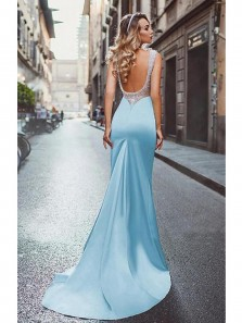 Chic Elegant Mermaid Backless Sky Blue Elastic Satin Prom Dress with Beading, Modest Long Prom Dress, Custom Made Formal Evening Dresses