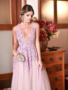 Sexy V Neck Lavendar Tulle Long Prom Dress ,Elegant Beading Evening Dress with Appliques