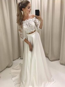 Stylish A-Line Two-Piece Off Shoulder White Lace Long Wedding Prom Dress, White Homecoming Dress