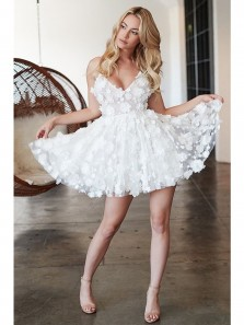 2503878096 Cute A Line V Neck Spaghetti Straps White Lace Homecoming Dress Discount Short  Homecoming dress ...