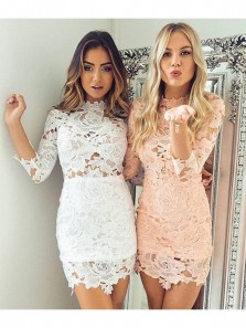 Simple Bodycon White Tight Lace Short Homecoming Dresses, White Long Sleeve Party Dresses