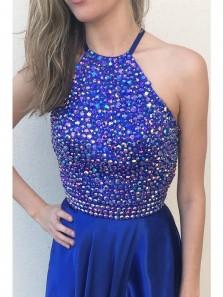 Classic Halter Sequins Royal Blue Satin Long Prom Dress, Elegant Custom Made Party Dress