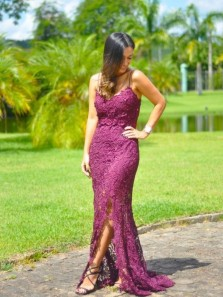 Modest V Neck Mermaid Spaghetti Straps Prom Dresses, Charming New Arrival Prom Gowns, Lace Slit Evening Gowns