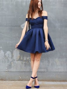 Cute A-Line Off the Shoulder Navy Blue Satin Short Homecoming Dress ,Cheap Homecoming Dress Under 100