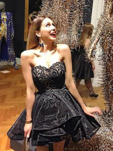 Cute High Quality Ball Gown Strapless Short Little Black Organza Homecoming Dress with Embroidery, Custom Made Short Party Dress