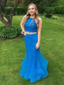 Gorgeous Mermaid Two Piece Blue Tulle Long Prom Dress, Elegant Lace Bodice Evening Dress