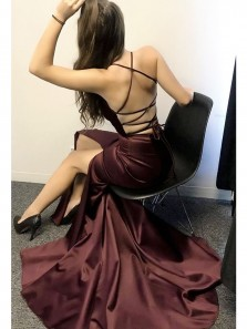 Gorgeous Straps V Neck Mermaid Burgundy Long Evening Dress with Criss Cross Back, Sexy Custom Made Prom Dress