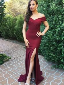 Cheap Off Shoulder Slit Burgundy Long Bridesmaid Dress, Charming Custom Made prom dress, Sexy Evening Dress