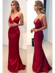 Discount Sexy Mermaid V-Neck Spaghetti Straps Dark Red Prom Dress, Charming Backless Long Evening Dress