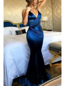 Sexy Mermaid V Neck Backless Royal Blue Elastic Satin Long Evening Dresses, Charming Sexy Prom Dress