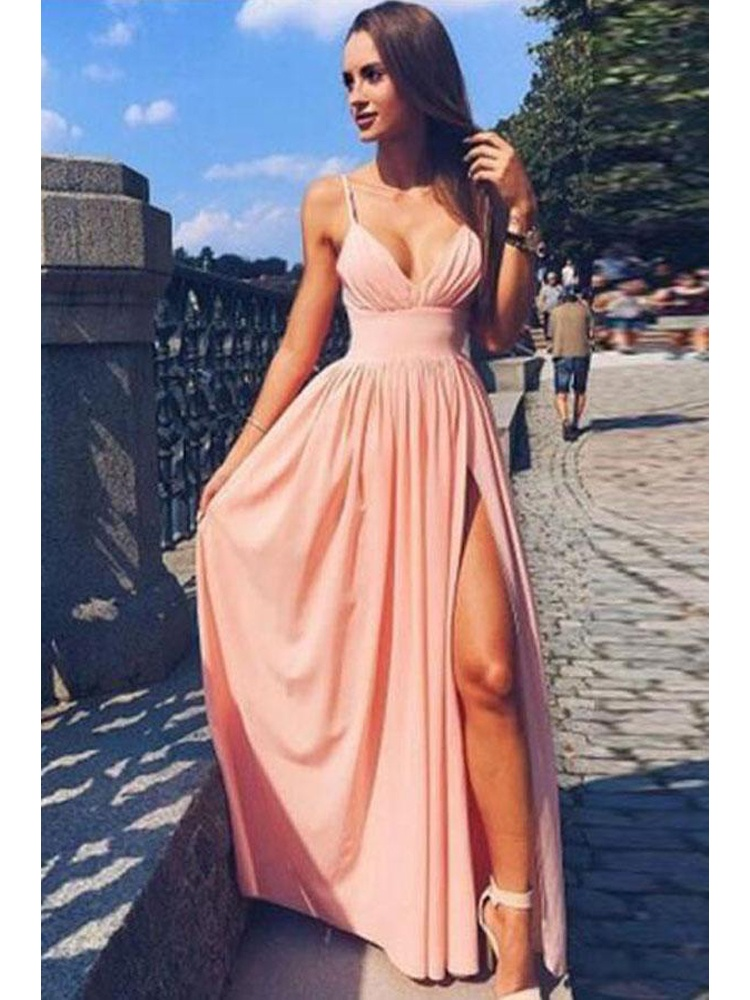 fa9c2976604 Cute Simple Spaghetti Strap V Neck Pink Chiffon Long Prom Dress ...