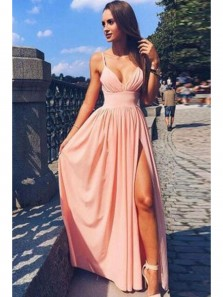 Cute Simple Spaghetti Strap V Neck Pink Chiffon Long Prom Dress, Cheap Pretty Slit Formal Evening Dress