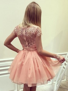 Cute A Line Scoop Cap Sleeve Brush Pink Chiffon Lace Short Homecoming Dress, Charming Short Prom Dress