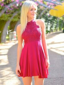 Charming Halter Open Back Dark Red Chiffon Homecoming Dress ,Cute Applique Short Prom Dress