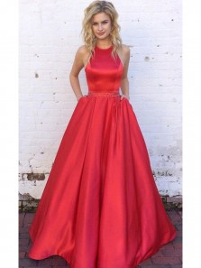 Cute A Line Halter Backless Red Satin Long Prom Dress