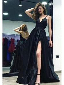Sexy A Line V Neck Backless Slip Black Long Prom Dress, Formal Evening Dress