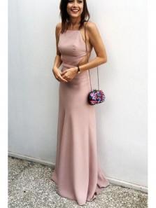 Simple Column Square Backless Elastic Brush Long Prom Dress, Elegant Long Dress Under 100