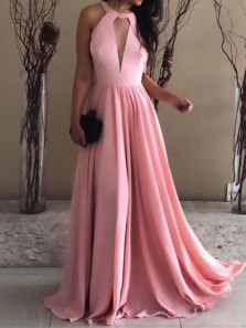 Charming A Line Halter Open Back Pink Elastic Satin Long Prom Dress, Elegant Formal Evening Dress