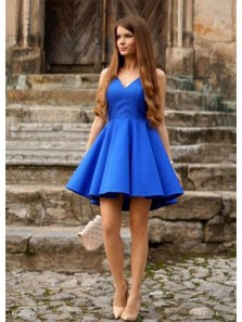 Simple A Line V Neck Open Back Royal Blue Short Dress, Cute Short Homecoming Dress Under 100