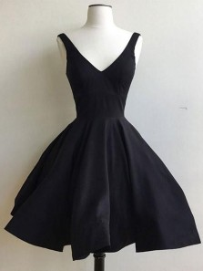 Elegant A Line V Neck Backless Satin Black Short Dress, Little Black Dress, Black short Homecoming Dress Under 100