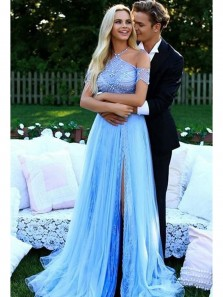 Charming A Line Halter Backless Tulle Blue Long Prom Dress with Lace, Formal Evening Dress