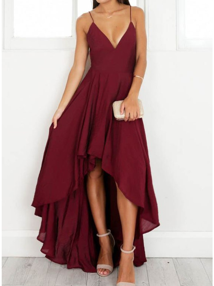 Simple A Line V Neck Spaghetti Straps High Low Chiffon Burgundy Prom Dress Long Formal Evening Dress
