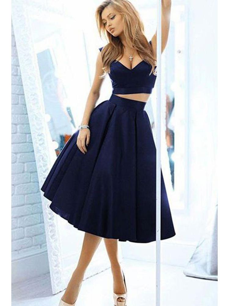 9fb9f0b2f6 Cute A Line Two Piece V Neck Open Back Navy Short Dress